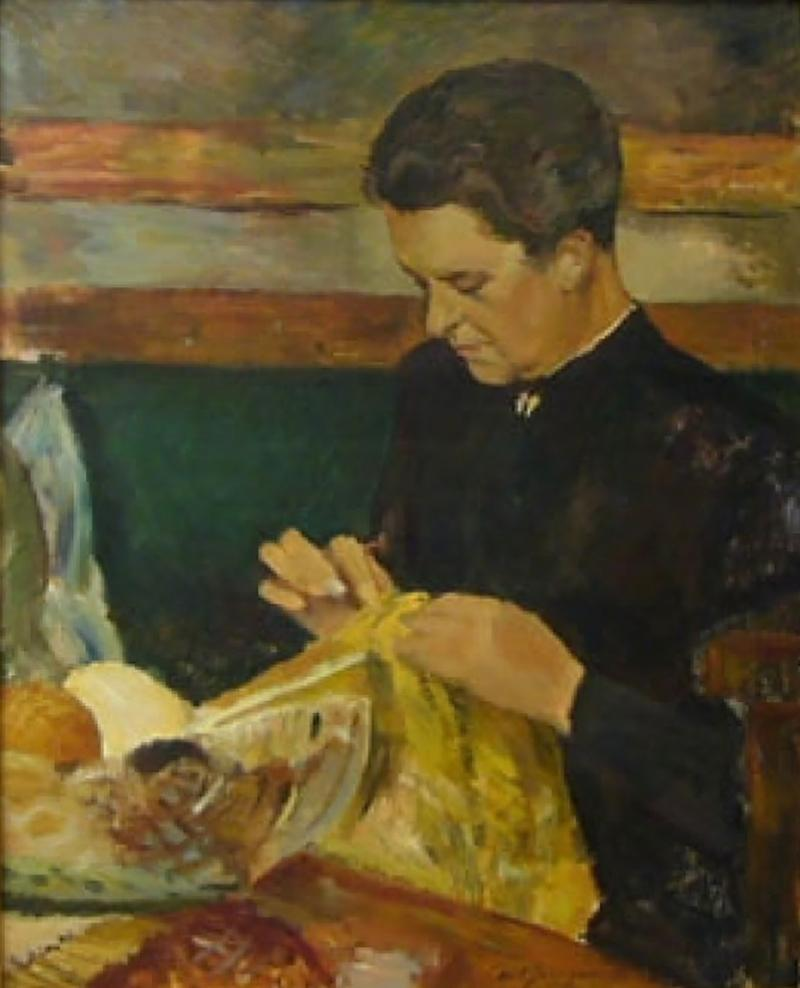 Carlo Hornung Jensen Woman with Needlework