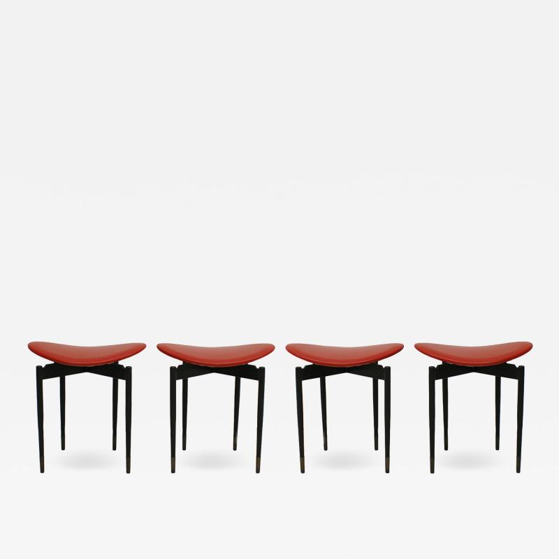Carlo Mollino Mid Century Set of Four Lutrario Stools Designed by Carlo Mollino Italy 1959