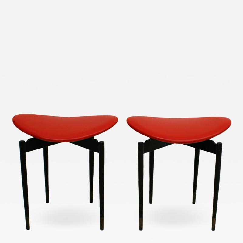 Carlo Mollino Mid Century Set of Two Lutrario Stools Designed by Carlo Mollino Italy 1959