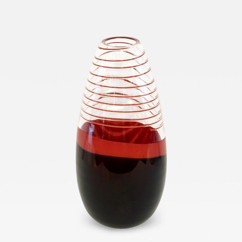 Carlo Moretti Carlo Moretti 1980s Italian Vintage Black Coral Red Crystal Murano Glass Vase