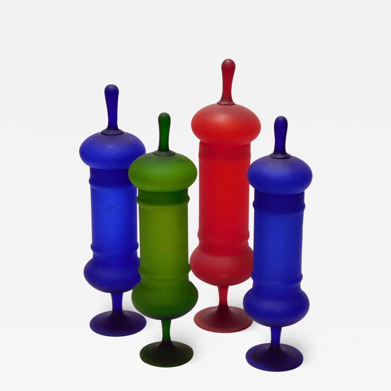 Carlo Moretti Set of Carlo Moretti 1960s Satin Glass Apothecary Jars