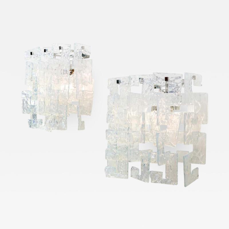 Carlo Nason Interlocking Opalescent Glass Mazzega Sconces Italy 1970s