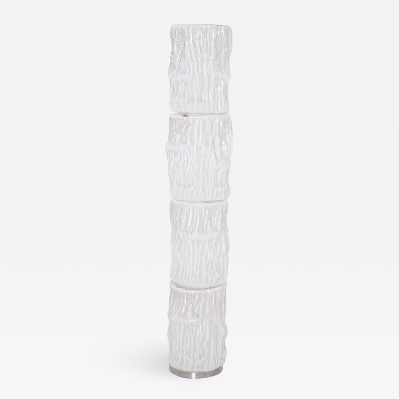 Carlo Nason Italian floor lamp by Carlo Nason for Mazzega in white Murano glass 1960S
