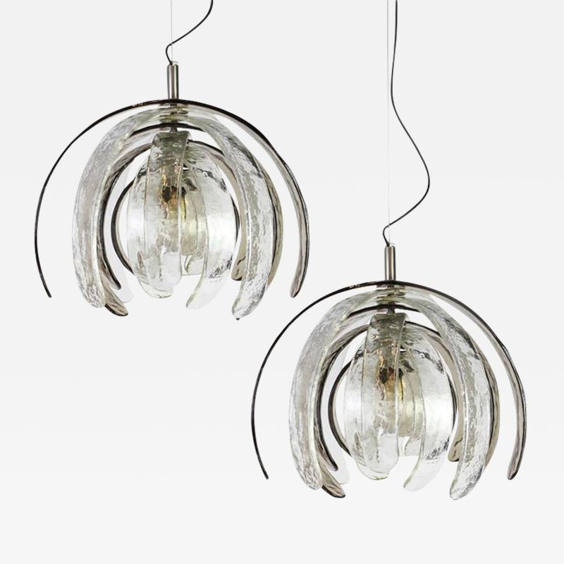 Carlo Nason Pair of Sculptural Artichoke Chandeliers by Carlo Nason for Mazzega Italy