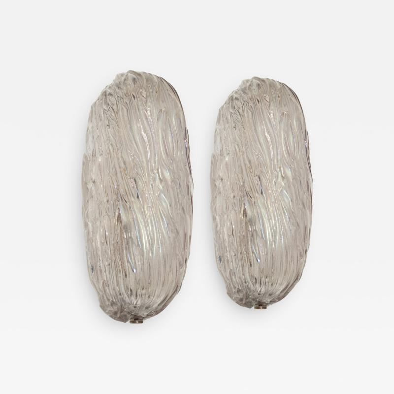 Carlo Scarpa Mid Century Carlo Scarpa Murano Glass Pair of Italian Wall Lights Sconces