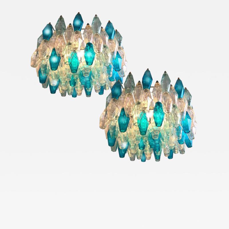 Carlo Scarpa Pair of Murano Glass Poliedri Colored Chandelier in the Style of Carlo Scarpa