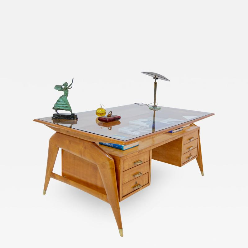 Carlo de Carli Carlo di Carli Carlo De Carli Important Desk in wood glass and brass 1950s published