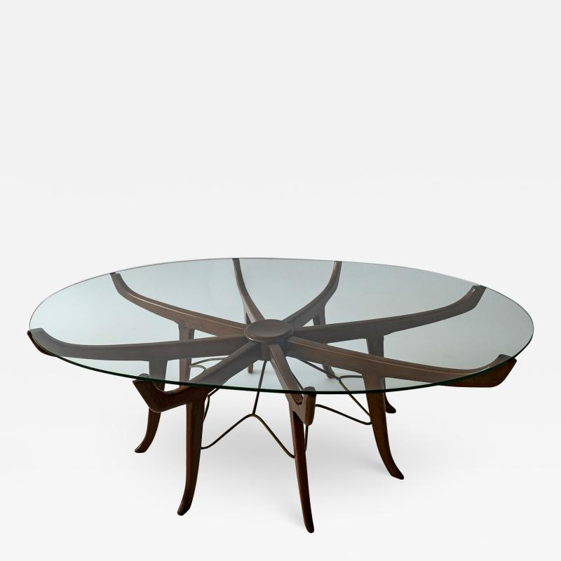 Carlo de Carli Italian Modern Mahogany Steel and Glass Coffee Table