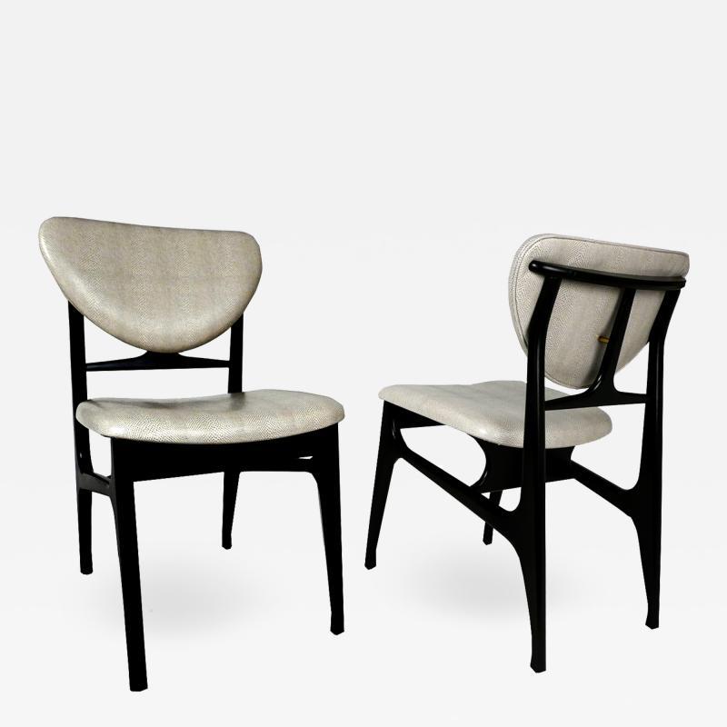 Carlo di Carli Italian Modern Ebonized and Faux Snake Skin Upholstered Chairs Carlo Di Carli