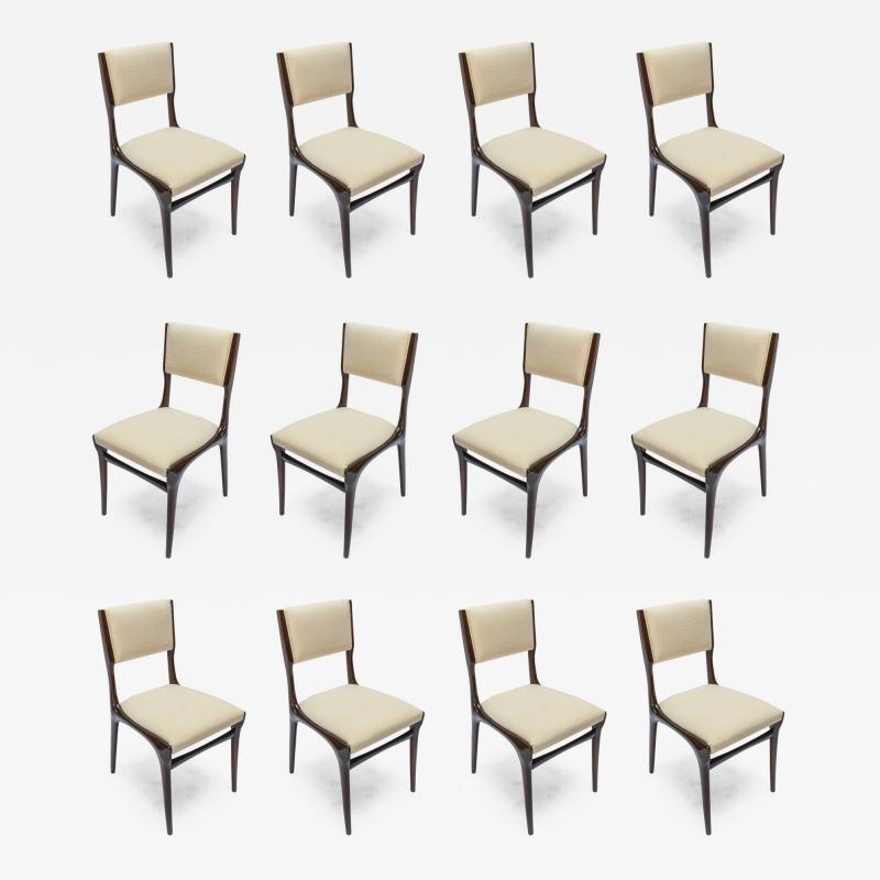 Carlo di Carli Set of 12 Carlo de Carli Dining Chairs in Ivory Linen 1950s