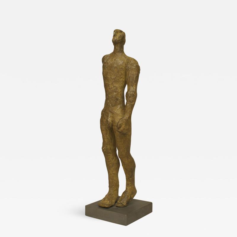 Carol Bruns Gold Patina Bronze Sculpture titled Exiting Man