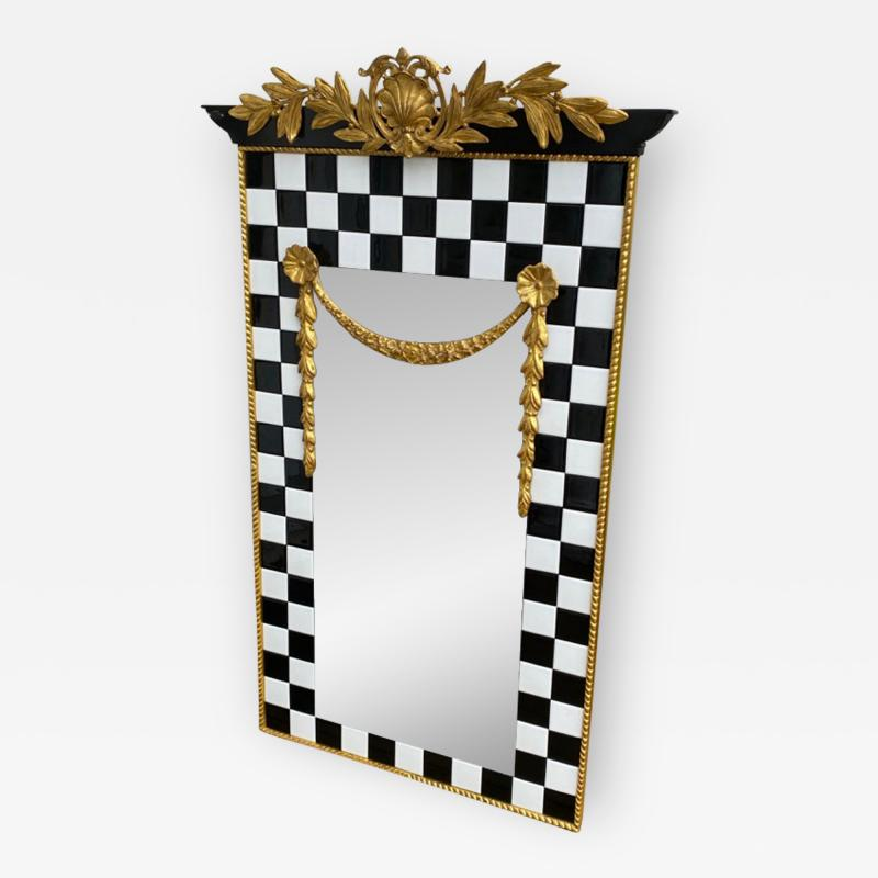 Carol Canner Carvers Guild BLACK AND WHITE TILE AND GOLD CREST AND DRAPERY MODERN MIRROR