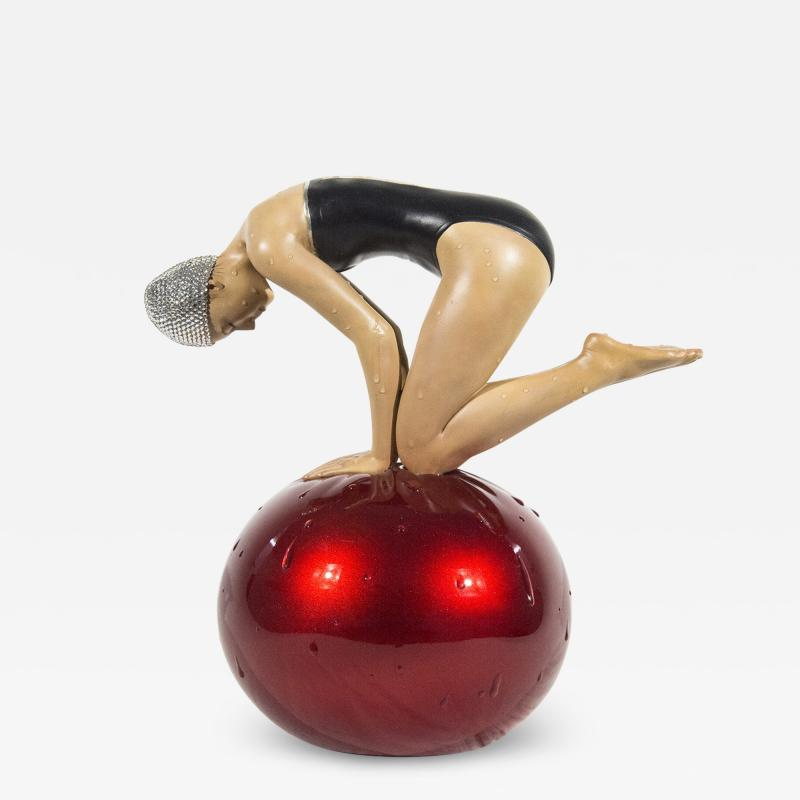 Carole Feuerman Miniature Quan with Red Ball and Swarovski Crystal