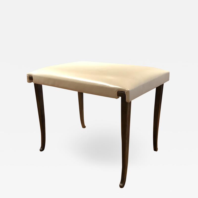 Carole Gratale Valentine Bench patinated bronze base leather upholstered seat