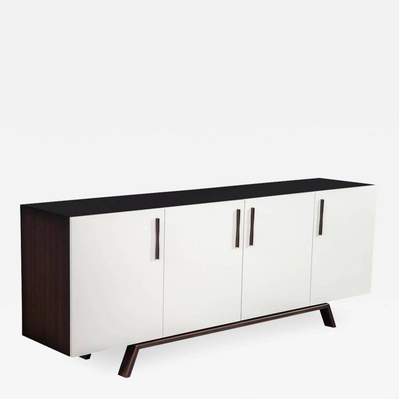 Carrocel Interiors Custom Modern Brass and Walnut Sideboard by Carrocel