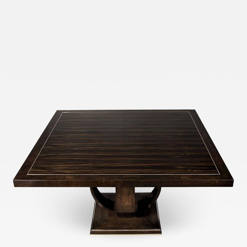 Carrocel Interiors Modern Square Walnut Dining Table with Macassar Ebony Inlay