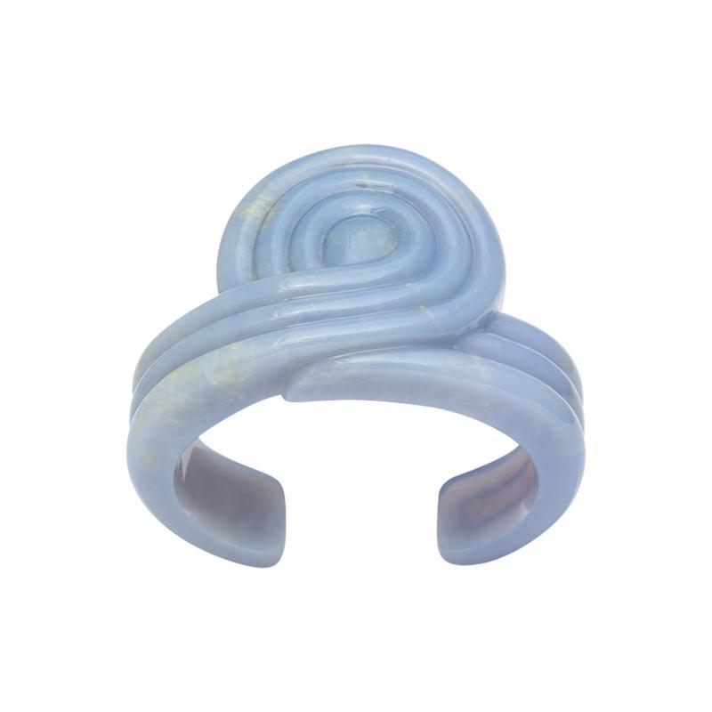 Carved Chalcedony Cuff Bracelet