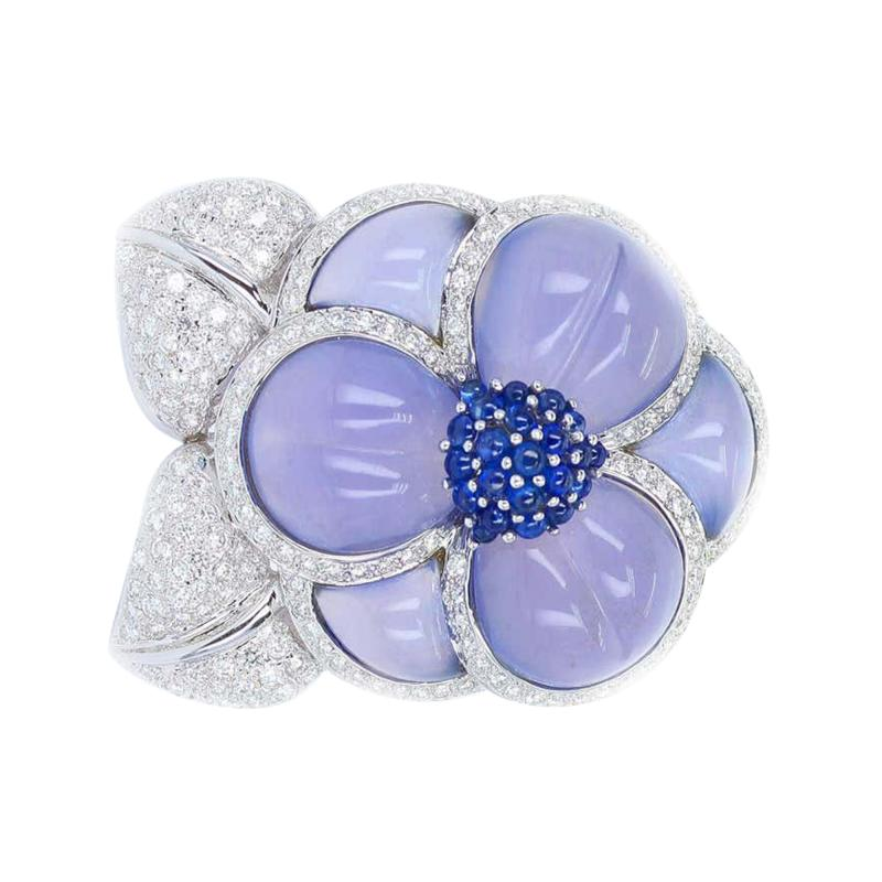 Carved Chalcedony Floral Brooch with Diamonds and Sapphires White Gold
