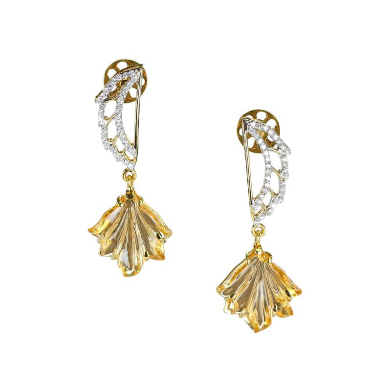 Carved Citrine and Diamond Wing Earrings 14 Karat Gold