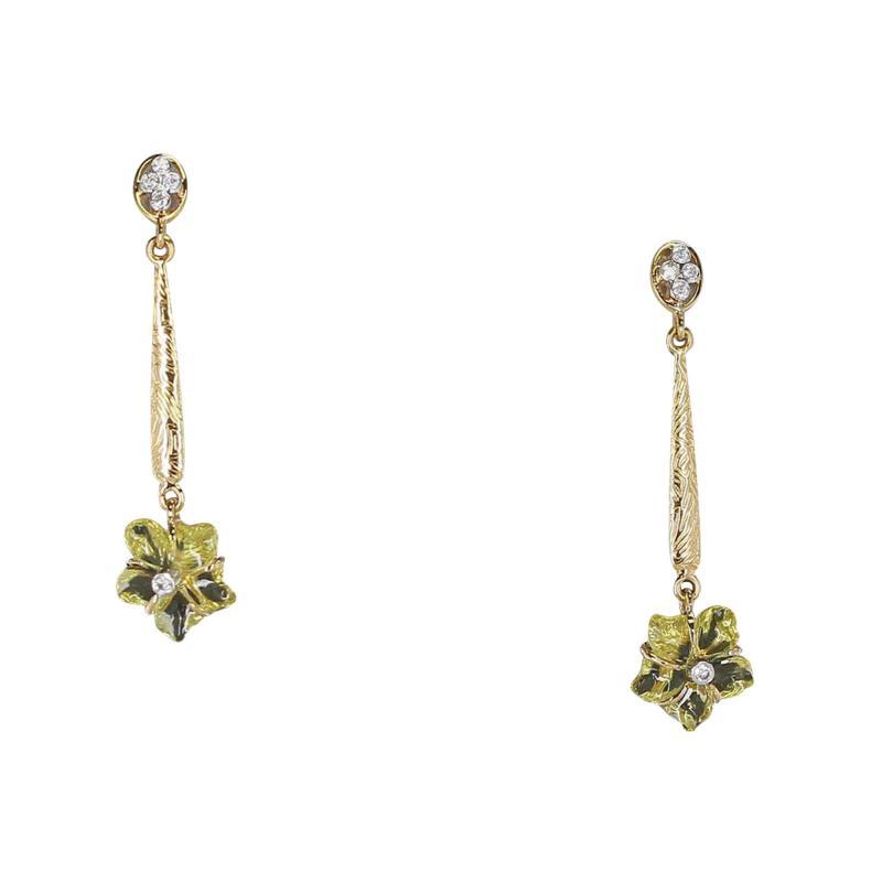 Carved Floral Lemon Topaz Drop Earrings with Diamonds 14 Karat Gold