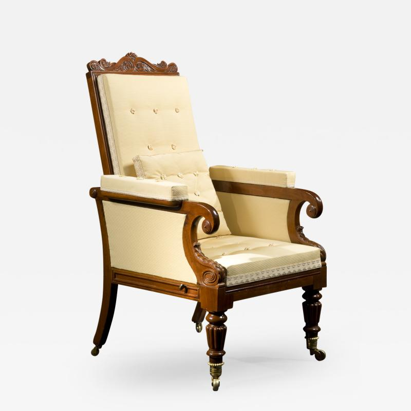 Carved Mahogany Mechanical Arm Chair