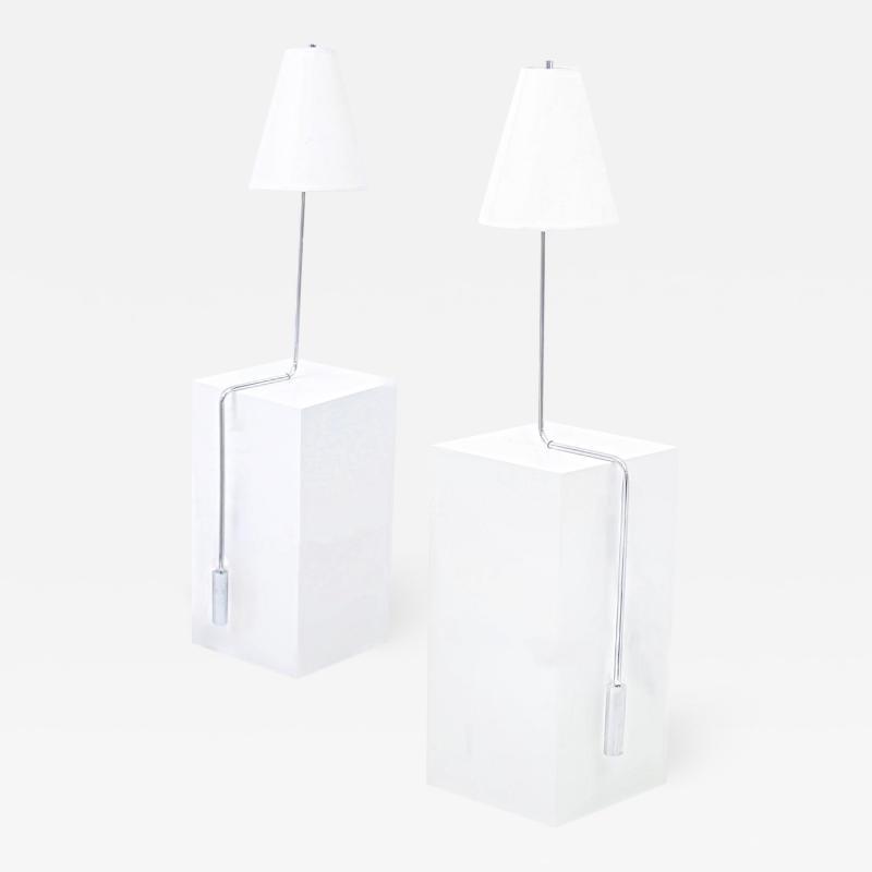 Cedric Hartman Minimalist Chrome Counterbalance Table Lamps