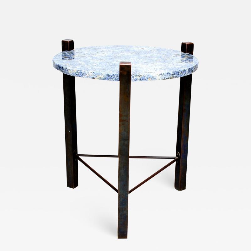 Cedric Hartman Petite Side Table Luscious Blue Granite Bronze 1970s Modern Cedric Hartman