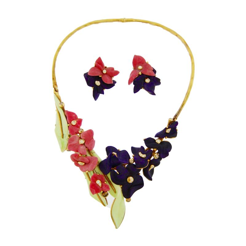 Ceramic Floral Necklace and Earrings Set