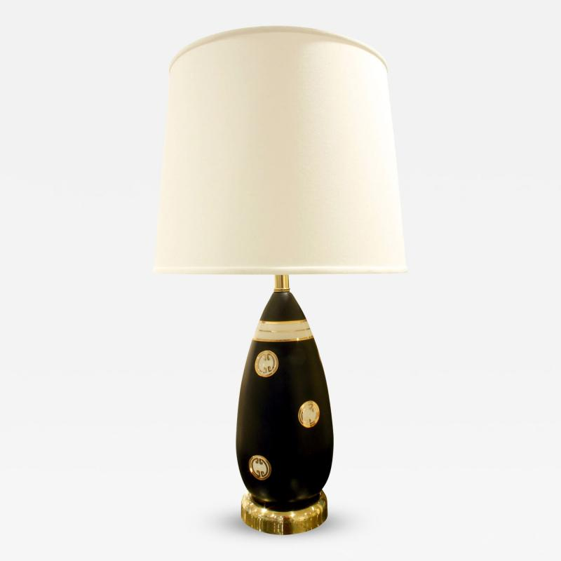 Ceramiche Zaccagnini Chic Porcelain Table Lamp with Gold Medallions 1960s