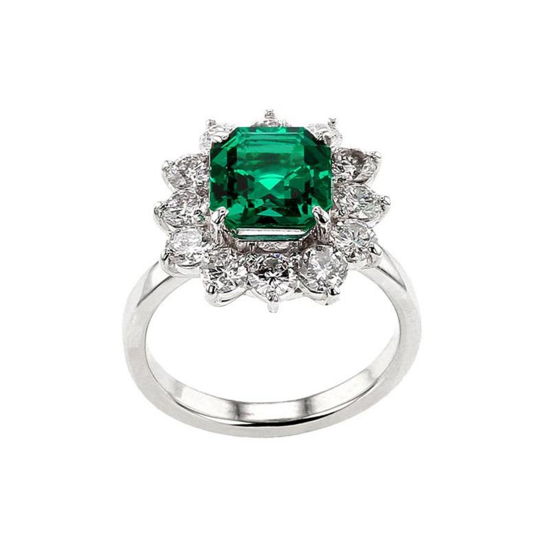 Certified 2 Carat No Oil Colombian Emerald and Diamond Cluster Platinum Ring