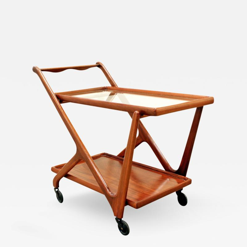 Cesare Lacca Cesare Lacca Elegant Rolling Cart with Glass Top 1970s