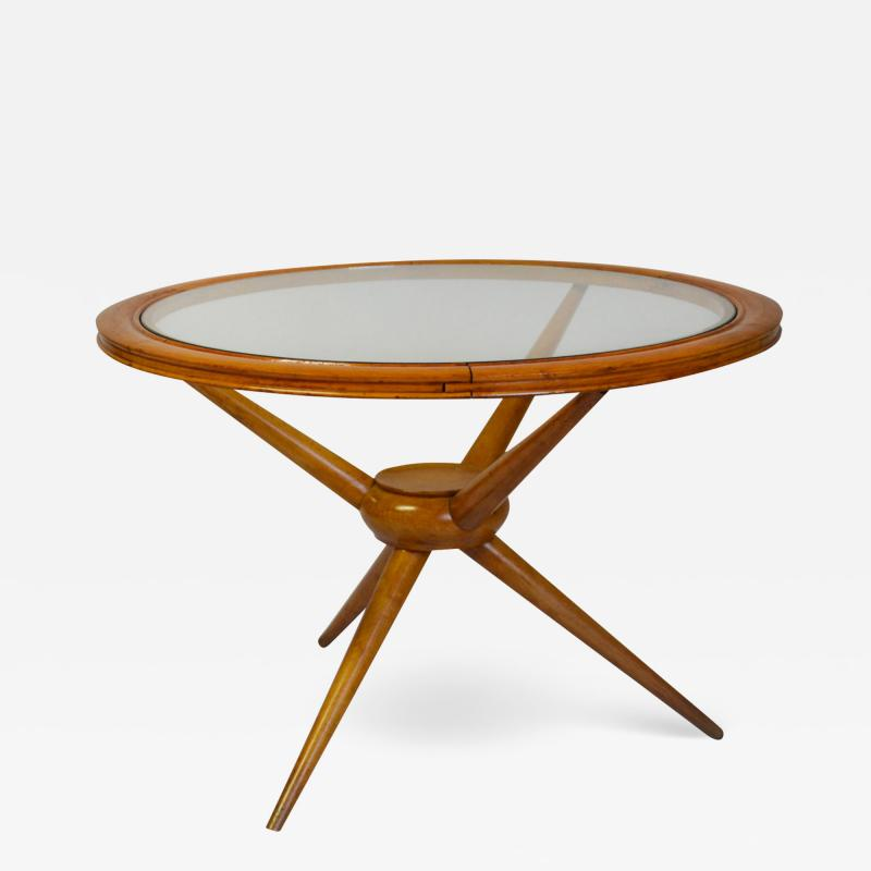 Cesare Lacca Cesare Lacca in the style of Round Low Table in Wood and Glass
