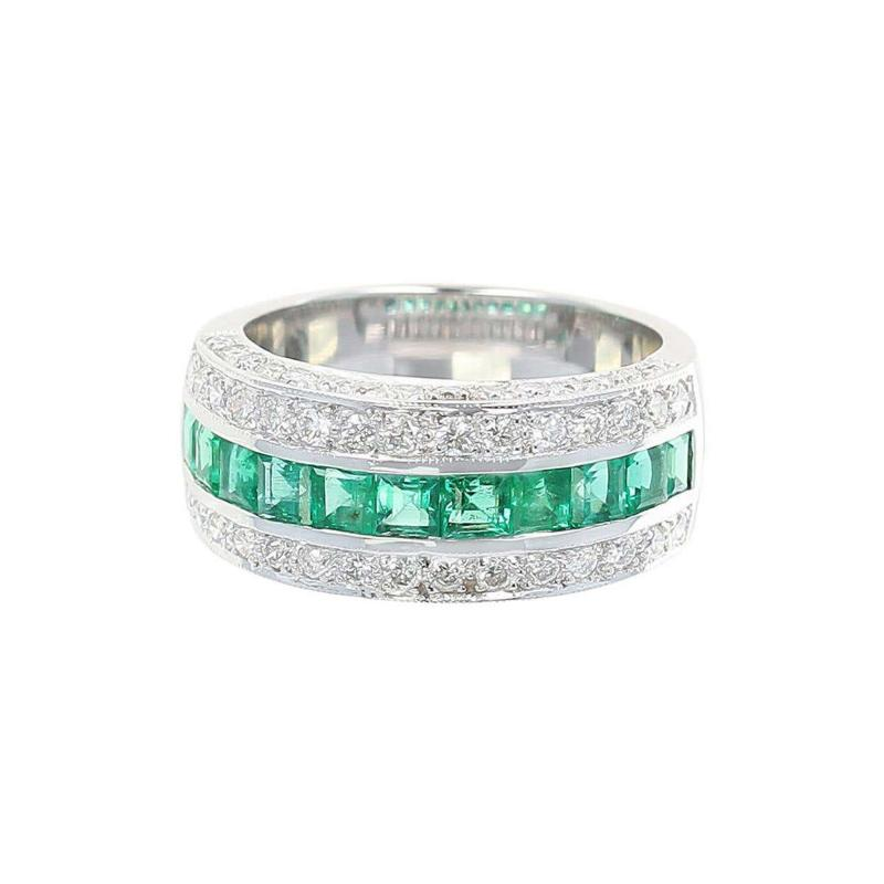 Channel Invisible Set Square Emeralds with Round Diamonds Band Ring