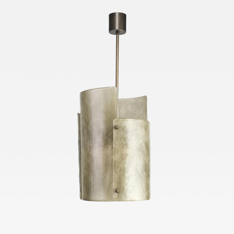 Charles Burnand Mezza Luna Pendant Drum in Murano Glass Brutalist Style