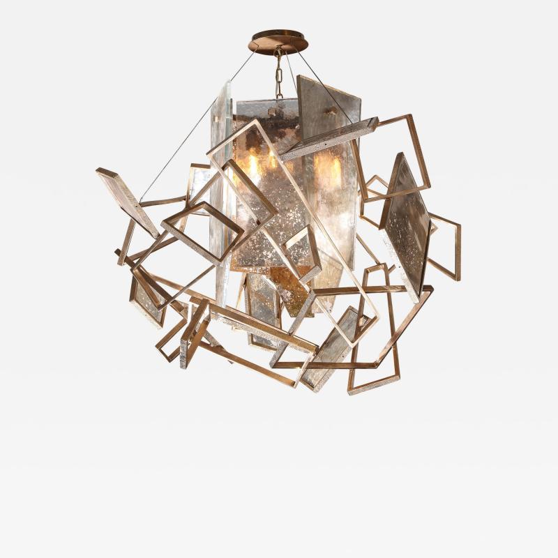 Charles Burnand Monumental Geometric Glass Paneled chandelier by Charles Burnand Nick Davis