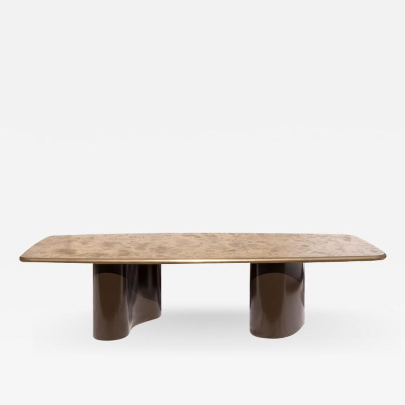 Charles Burnand Nassau Dining Table Custom Champagne Gold Table Top and 3 Dimensional Base