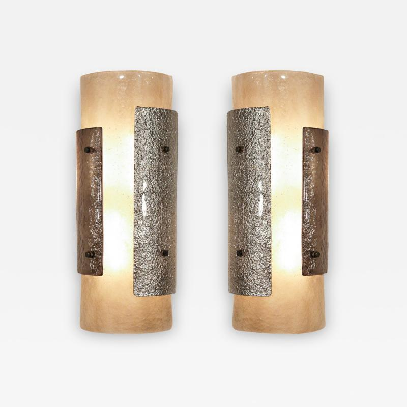 Charles Burnand Pair of Murano Glass Torcello Wall Sconces