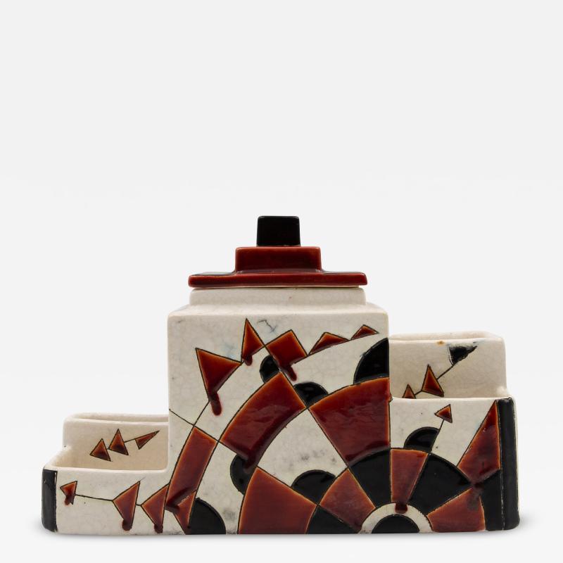 Charles Catteau Black and Brown Charles Catteau Keramis Boch Ceramic Art Deco Decorated Pot