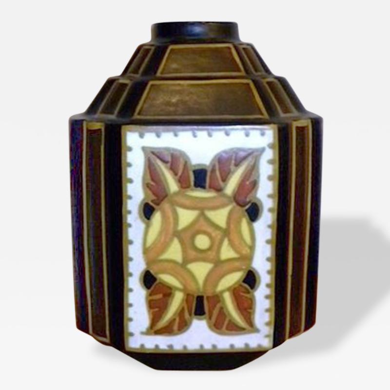 Charles Catteau La Louviere Hexagon Vase