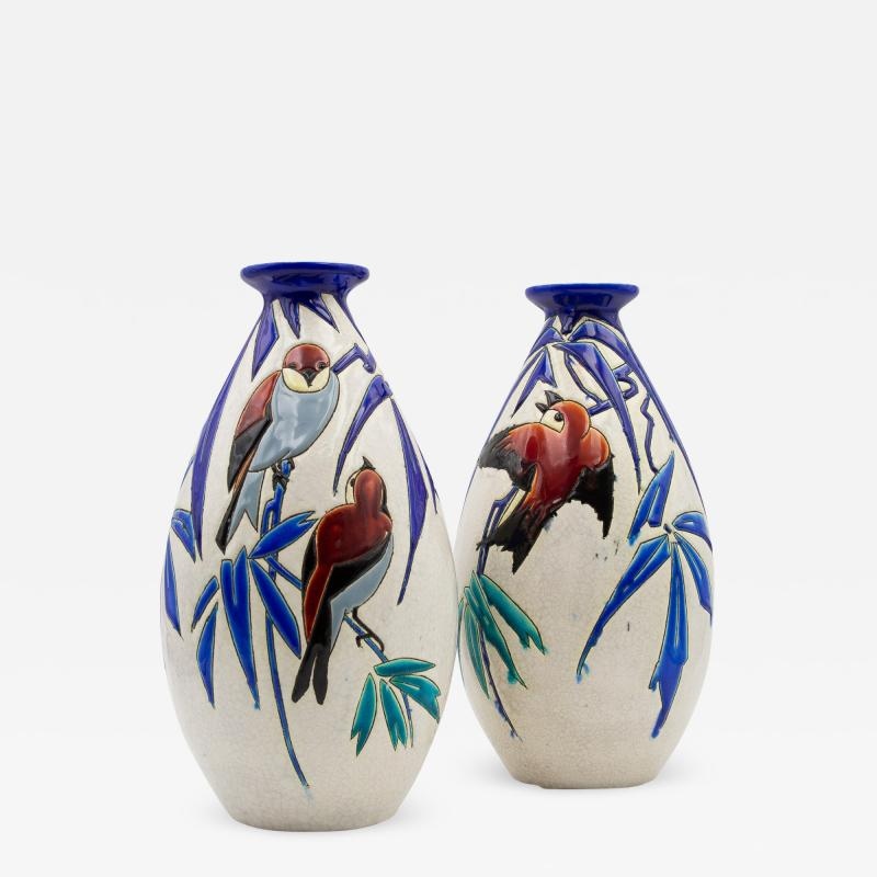 Charles Catteau Pair of Vase Aux Hirondelles by Charles Catteau for Bock Keramis Vases