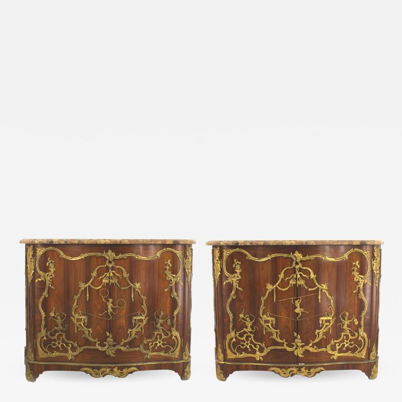 Charles Cressent Pair of French Louis XV Rosewood Commodes