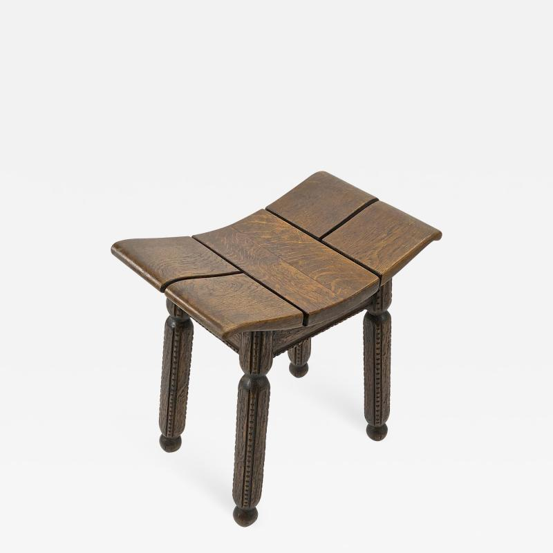 Charles Dudouyt Charles Dudouyit rarest oak carved stool