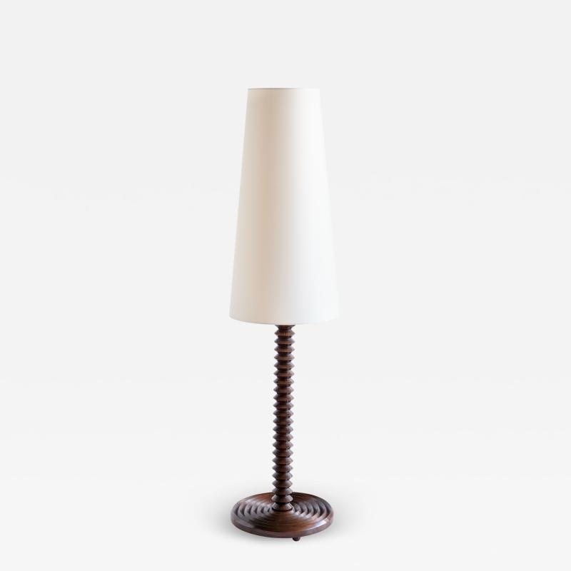 Charles Dudouyt Charles Dudouyt Floor Lamp in Carved Oak with Ivory Shade France 1940s