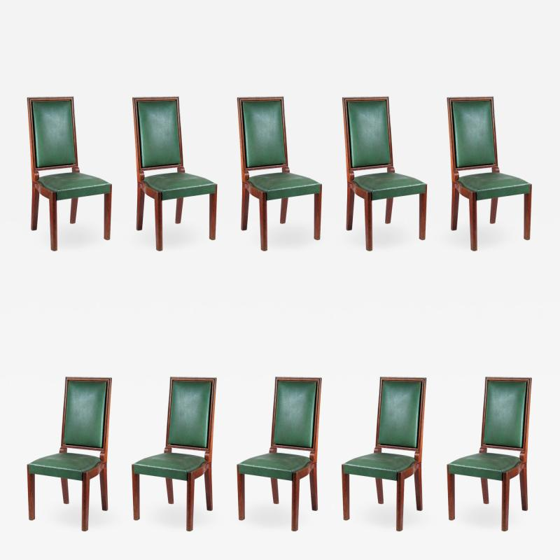 Charles Dudouyt Charles Dudouyt Set of Ten Dining Chairs