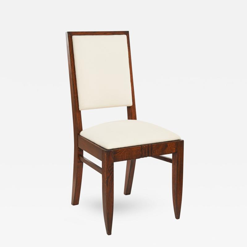 Charles Dudouyt Charles Dudouyt Wood Frame Upholstered Side Chairs Set of Six