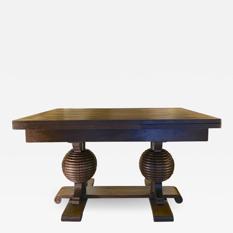 Charles Dudouyt Charles Dudouyt spectacular sphere shaped legs oak dinning table