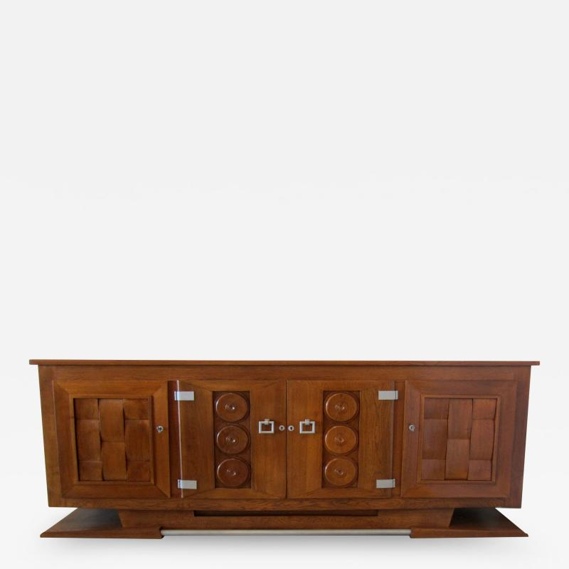 Charles Dudouyt Important French Modern Oak and Pewter 4 Door Credenza Buffet Chares Dudouyt