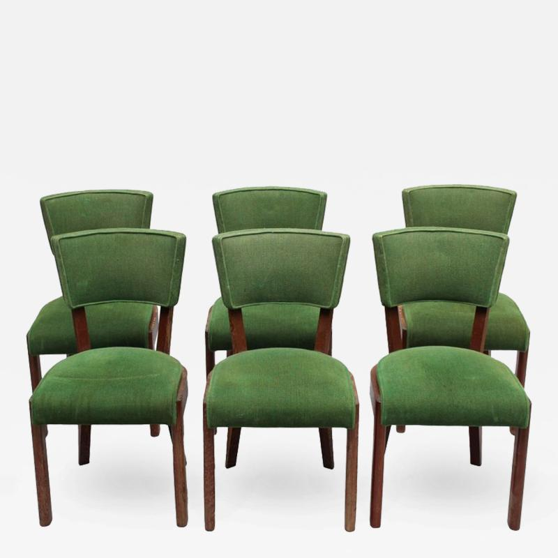 Charles Dudouyt Set of Six Fine French Art Deco Oak Chairs by Charles Dudouyt
