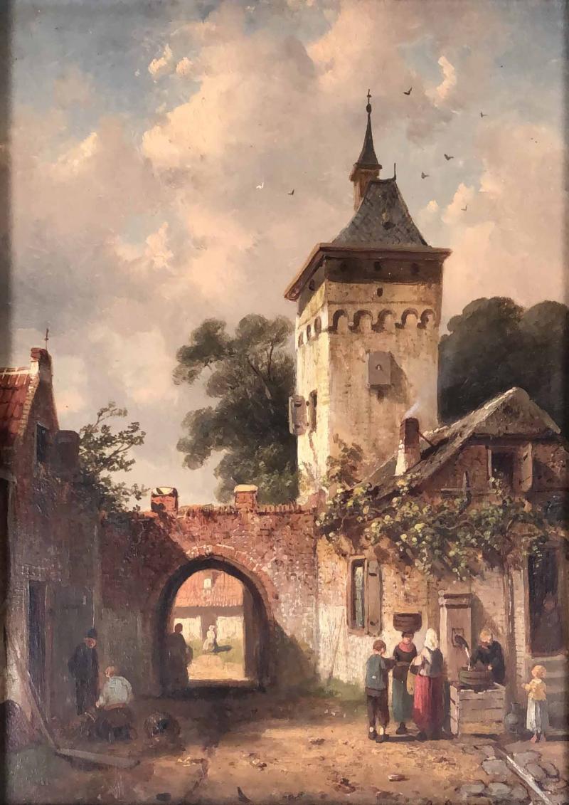 Charles Henri Leikert Charles Henri Leikert Period Village Scene
