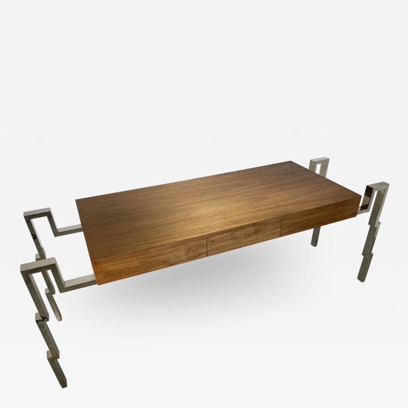 Charles Hollis Jones American Modern Polished Steel and Walnut Desk Charles Hollis Jones